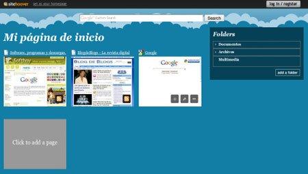 SiteHoover para personalizar páginas de inicio