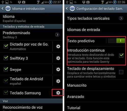 Función del teclado Swype para Samsung Galaxy S3