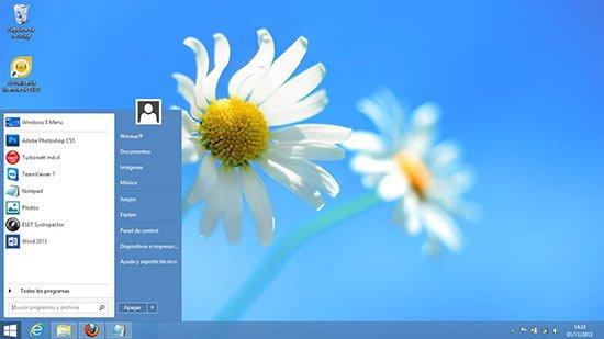 Atajo para el menú de inicio de Windows 8