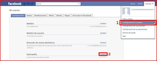 Cambia tu contraseña de Facebook