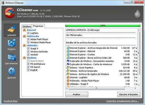 Los mejores programas para limpiar Windows - CCleaner